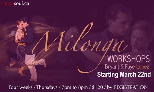 Four week Milonga Workshop session