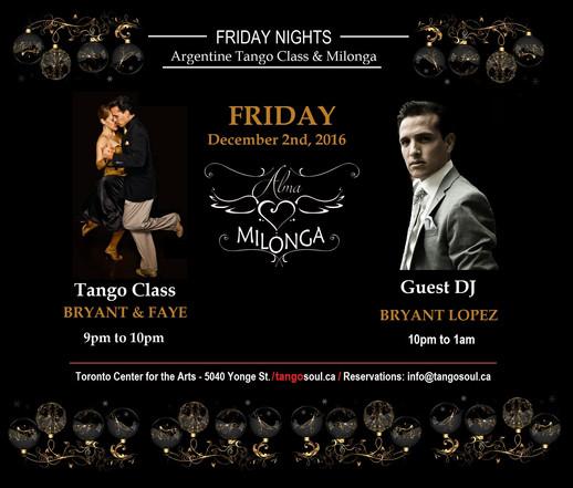 Alma Milonga - Friday Dec. 2nd Tango   in North York