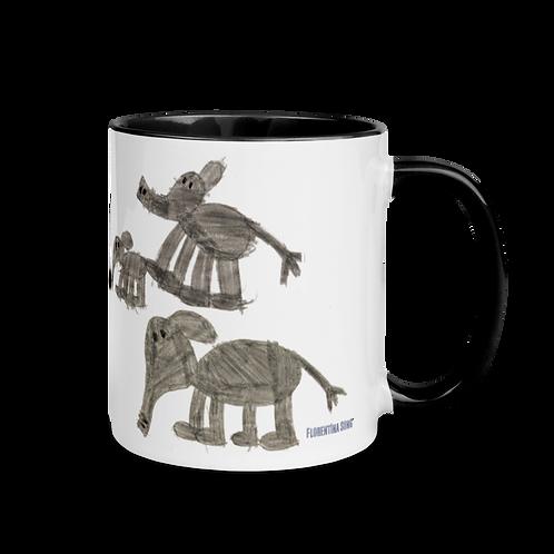 Elephant Family Mug with Color Inside