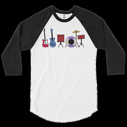 Men's Rockin MyKids Instruments 3/4 sleeve raglan shirt
