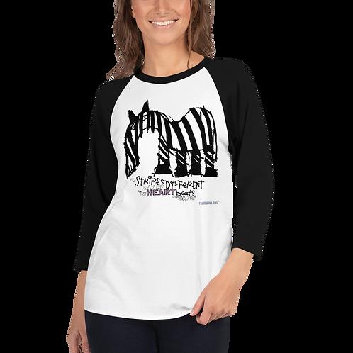 Women's Fancy Stripes 3/4 sleeve raglan shirt
