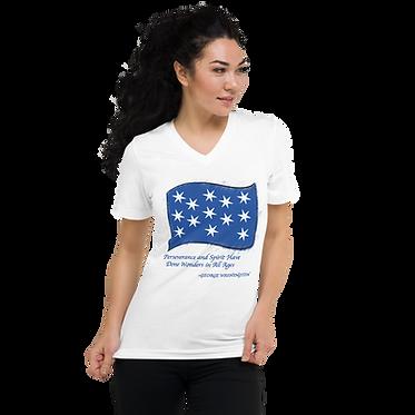Unisex V-Neck TShirt-George Washington Flag