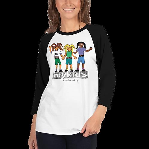 Women's MyKids Unite Wednesday 3/4 sleeve raglan shirt