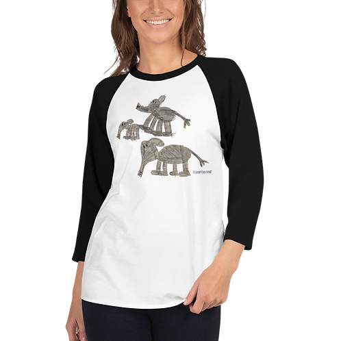 Women's Elephant Family 3/4 sleeve raglan shirt
