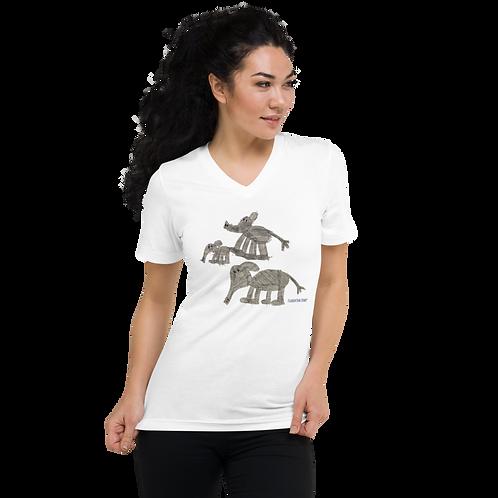 Elephant Family Unisex Short Sleeve V-Neck T-Shirt