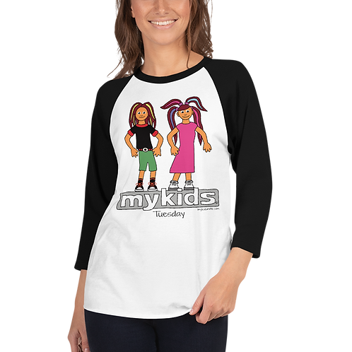 Women's MyKids Untie Tuesday 3/4 sleeve raglan shirt