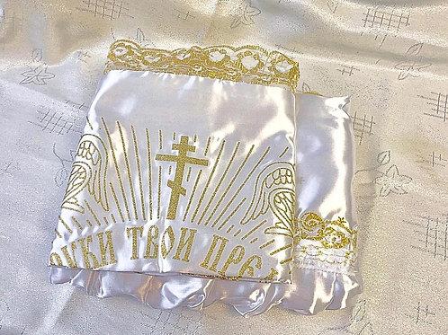 Ритуальная тюль с крестом фото