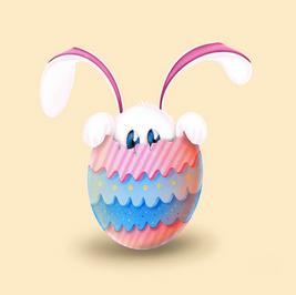 Mr Lucien inside an egg