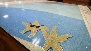 Tallahassee Airport ultra-custom terrazzo floor lets travelers dip their toes in the water.