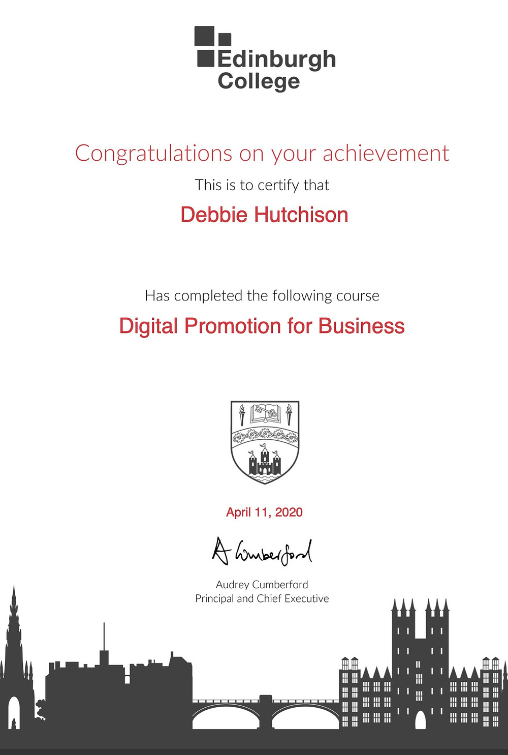 Debbie's certificate for the Digital Promotion for Business course at Edinburgh College
