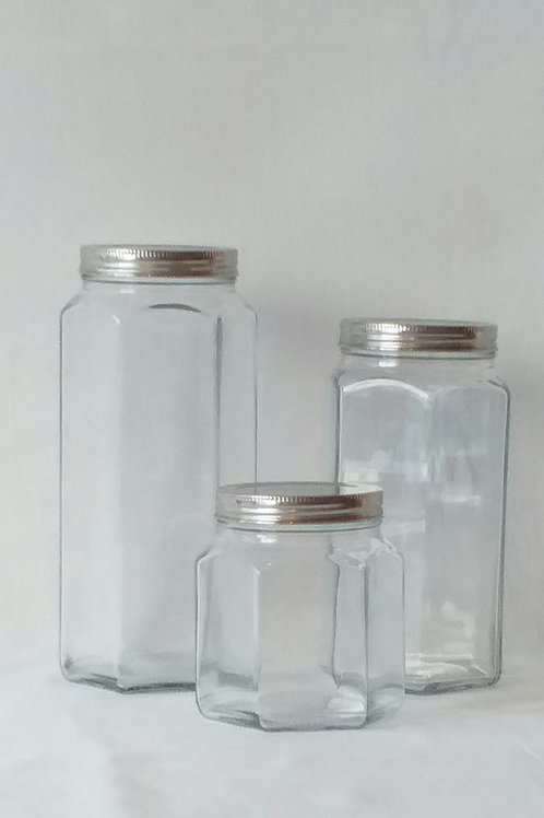 Frascos de vidrio facetado