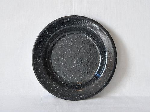 Plato hondo negro 25 cm pintas blancas