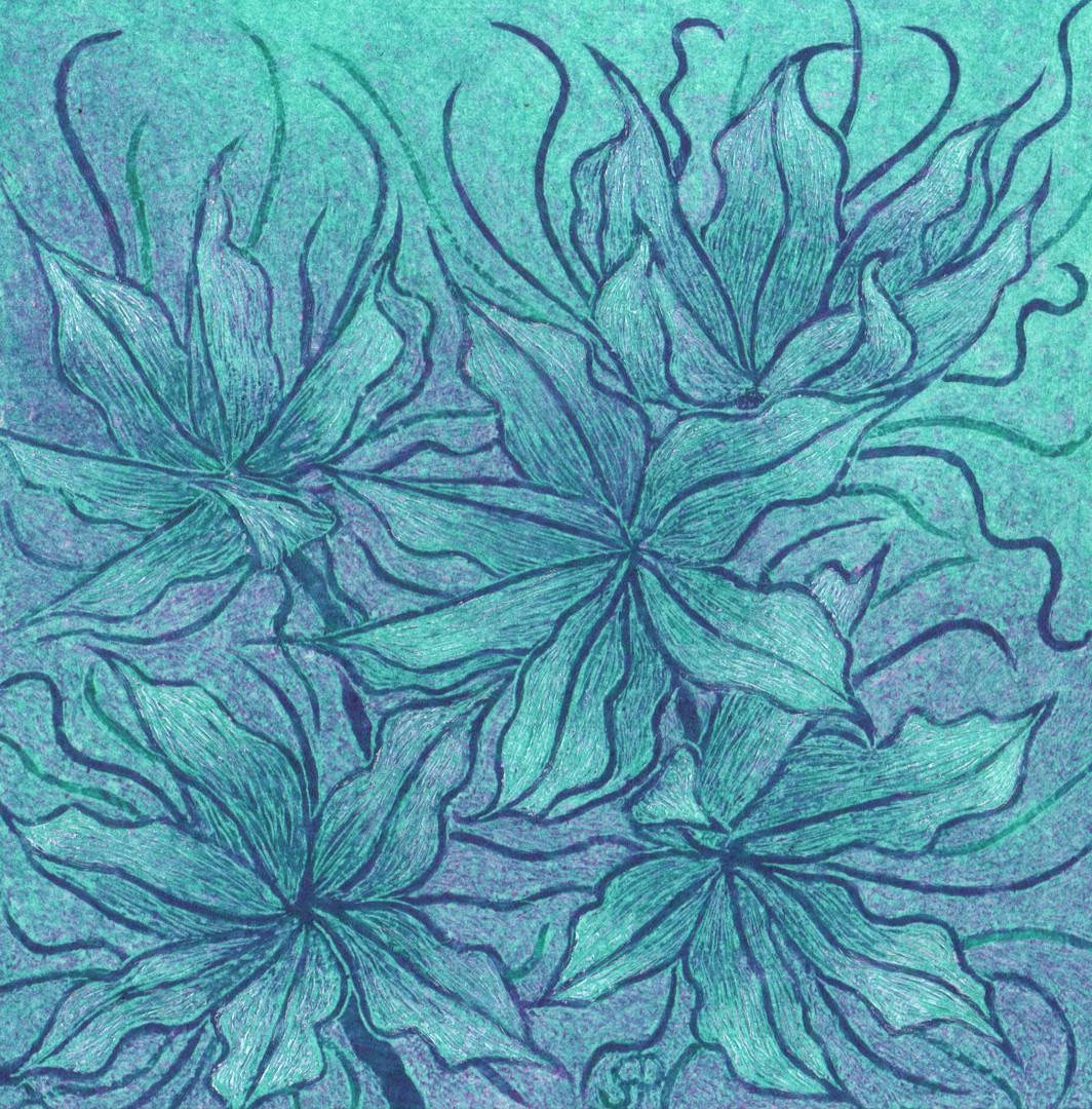 Glass Works III: lavatera seedheads