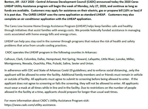CADC ANNOUNCES 2020 CARES LIHEAP UTILITY ASSISTANCE