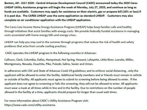 CADC ANNOUNCES 2020 CARES LIHEAP UTILITY ASSISTANCE