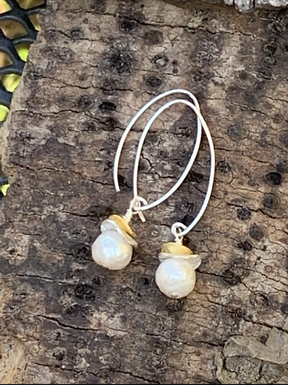 Pearl Earrings with silver & vermeil discs on long earwires