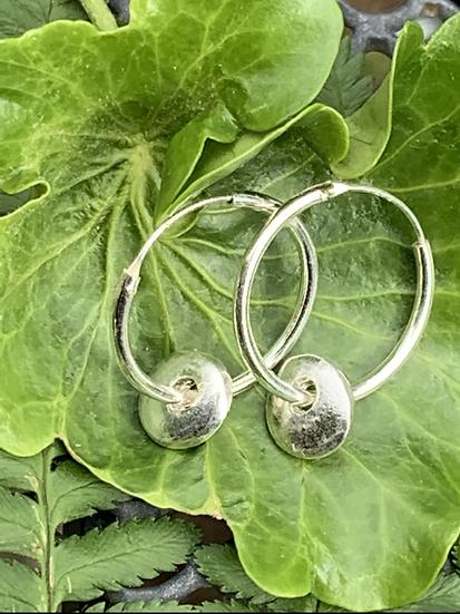 Silver pebble  earrings