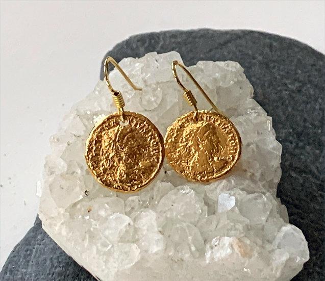Vermeil Roman coin earrings