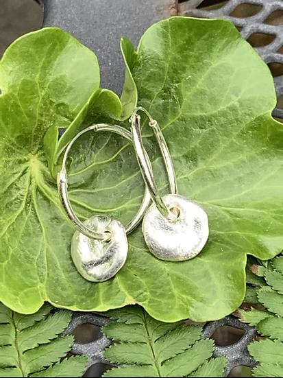 Silver large pebble earrings