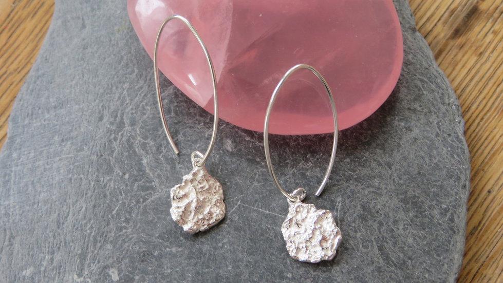 Silver Crinkle earrings with long earwires