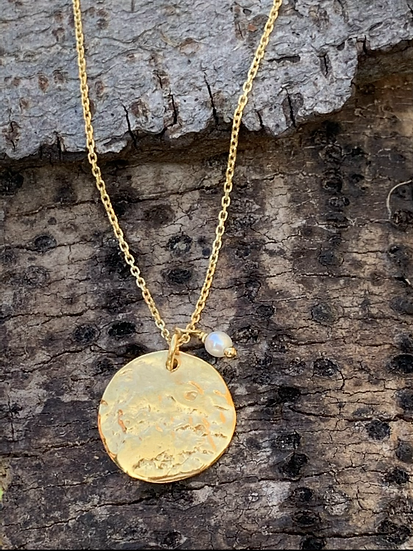 Vermeil Organic Disc Pendant (with freshwater pearl)