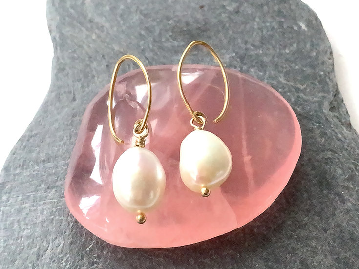 Pearl vermeil earrings with long earwires