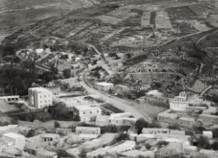 'Amman. View from Gebel Kala'a showing Roman Theater and Hotel Philadephia, 1920