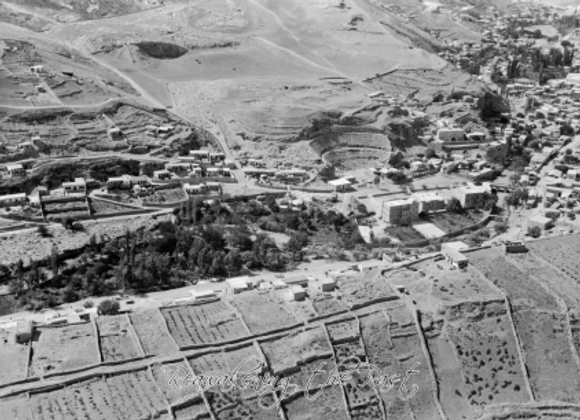 Amman from the air with fields, showing Roman theatre and Philadelphia Hotel 193