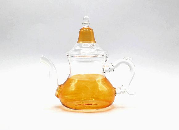 Glass Blown Orange Tea Pot