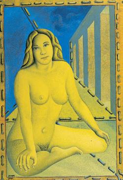 La femme en jaune citron