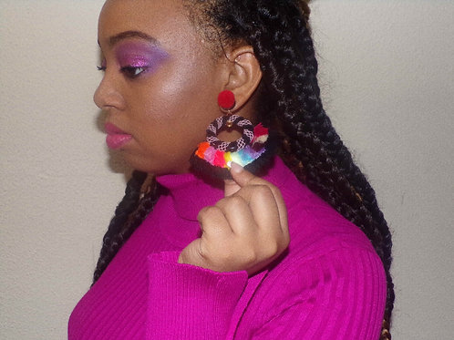 Multi-colored Furry Feathers Customade Earrings