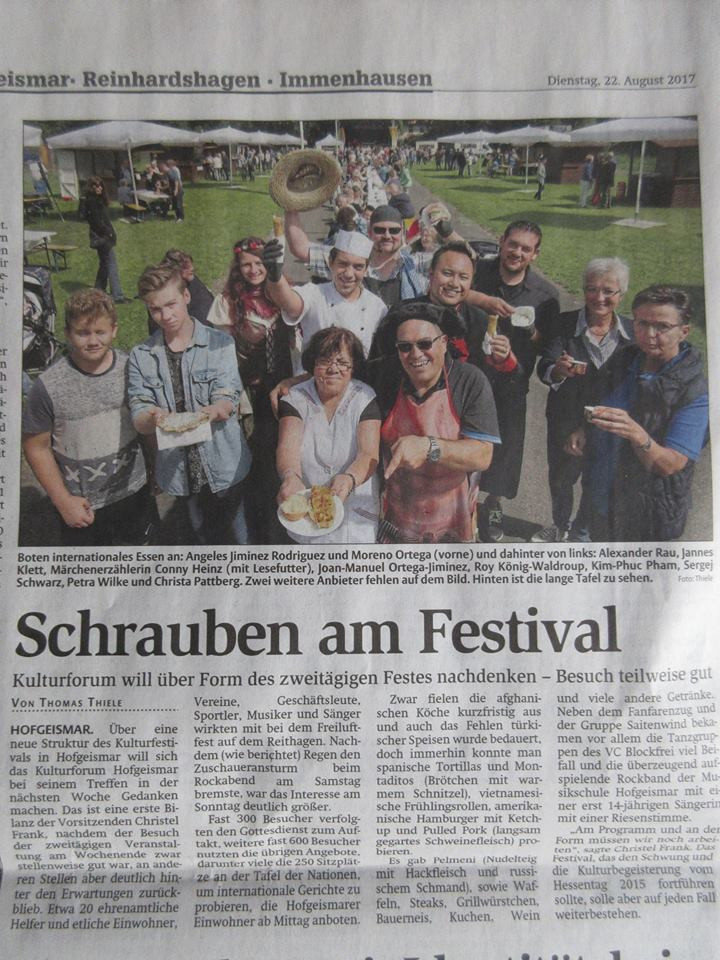 Schönes Fest der Kulturen mit der Tafel der Nationen und 3 Lesungen von Operation Grimm!