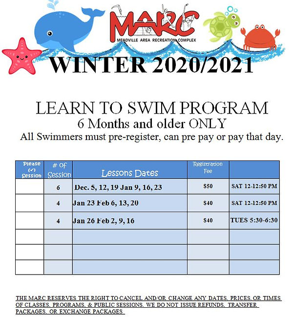 swim lessons December and January 2020.J