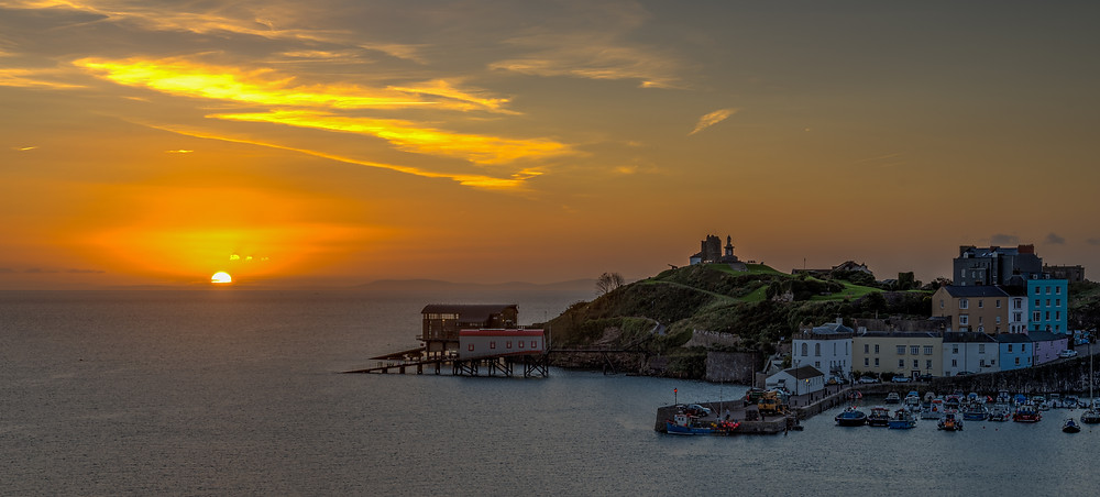 Tenby Harbour and Castle Hill Sunrise