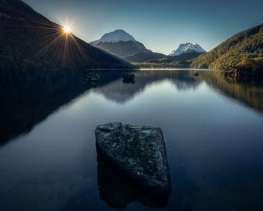 Lake-Sylvan-Snow-capped-mountain-reflect
