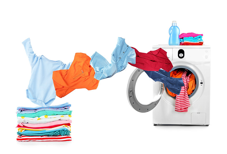 Washing machine and flying clothes on wh