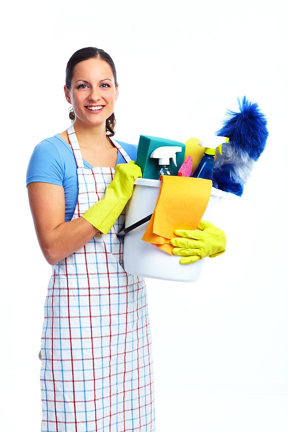 Young smiling maid. House cleaning servi