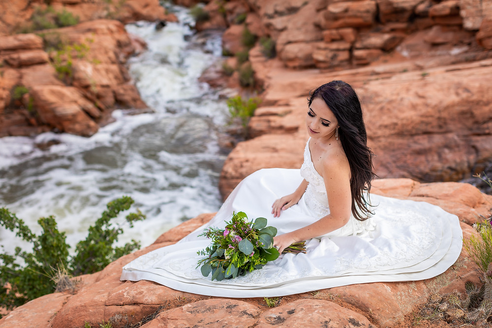 Bride above the waterfalls at Gunlock Reservoir