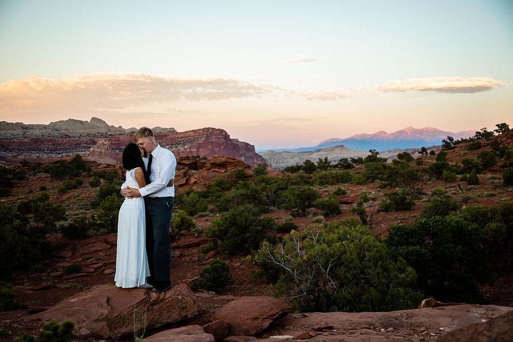 Adventure elopement at Panorama point in Capitol Reef National Park