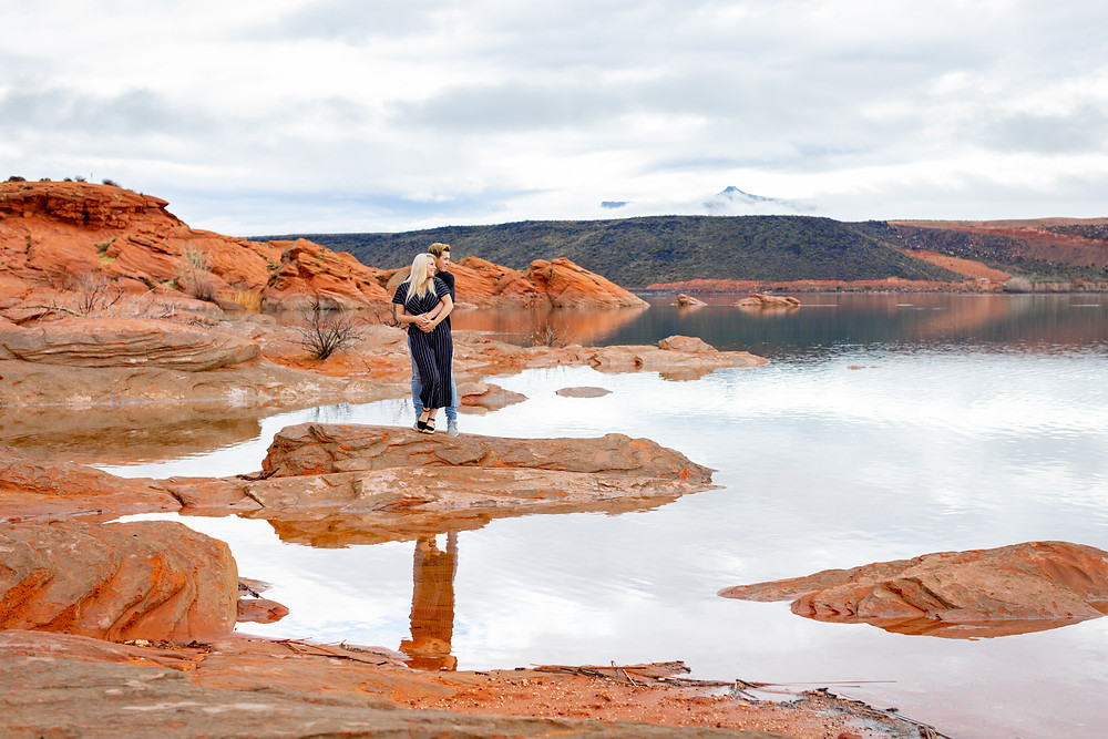 Sand Hollow Reservoir Wedding Ceremony Elope Southern Utah Engagement Photography