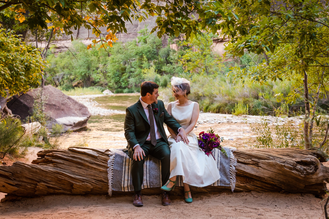 Elope Southern Utah - Temple of Sinawava wedding bride and groom sit on a tree while green branches of the Zion trees frame them