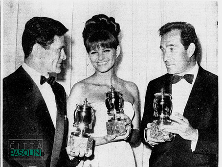 Claudia Cardinale, Tognazzi e Pasolini vincono le «Grolle d'oro» a St-Vincent 1964