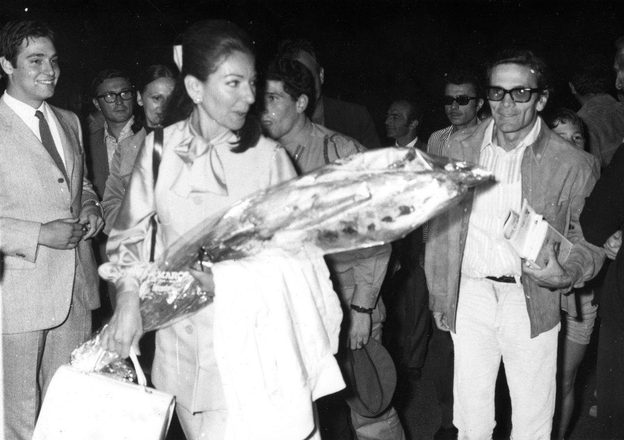 """La Callas arriva a Grado per la premier di """"Porcile"""" (1969)"""