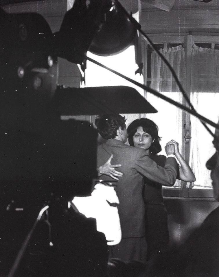 """Anna Magnani ed Ettore Garofolo durante le riprese di """"Mamma Roma"""""""
