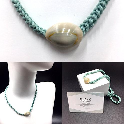Collier Cauri Vert d'eau, bijoux, création originale Talichic fait main France