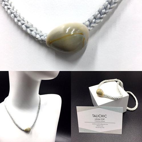 Collier Cauri Gris, bijoux, création originale Talichic fait main France
