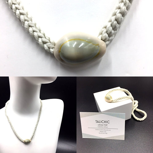 Collier Cauri Beige, bijoux, création originale Talichic fait main France