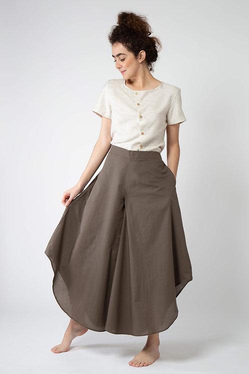 Calça Pantalona Ampla Marron Komachi