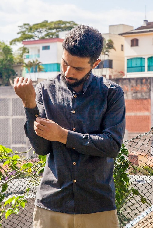 Camisa Masculina em Algodão Aditi Gola Padre Slow Fashion