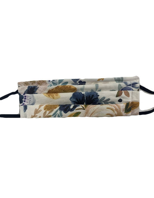 Victoria Floral Navy Pleated Mask